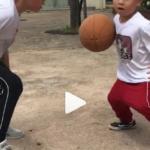 《ミニバスで全国大会を目指す!》息子のしもん(7歳/小2),ましろ(6歳/小1)は毎日欠かさず兄弟+パパでバスケットボールの練習をしています(2020年5月10日)